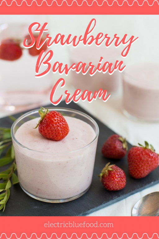 Strawberry Bavarian cream can be described as a very firm mousse. It is a combination of a light yolk custard with gelatin, whipped cream and strawberries.