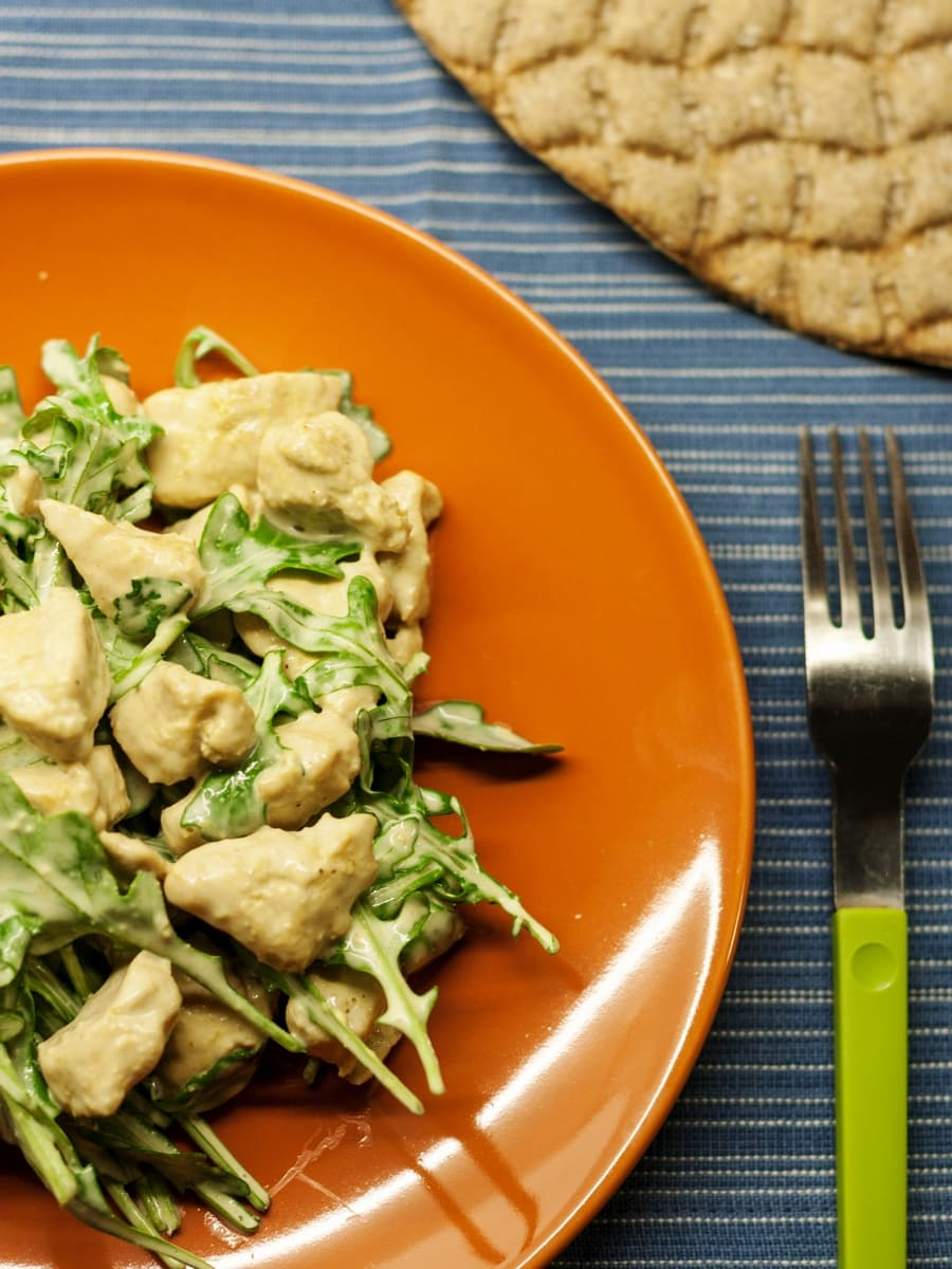 curry chicken arugula