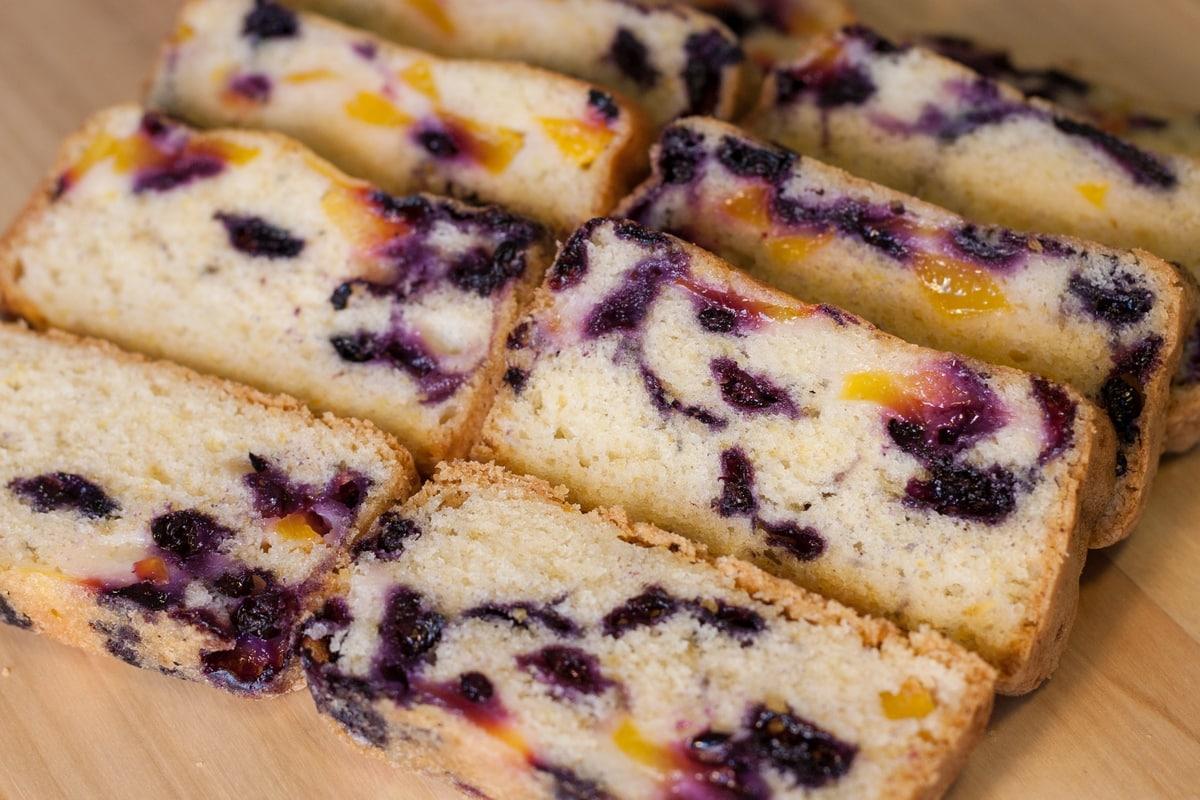 nectarine blueberry loaf cake