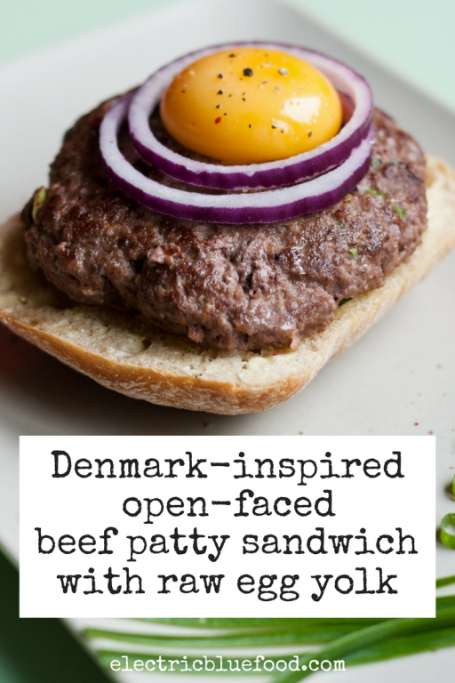 Denmark-inspired open-faced sandwich with beef patty