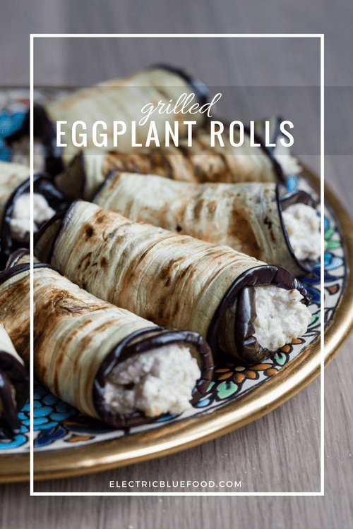 Grilles eggplant rolls filled with walnut and feta paste