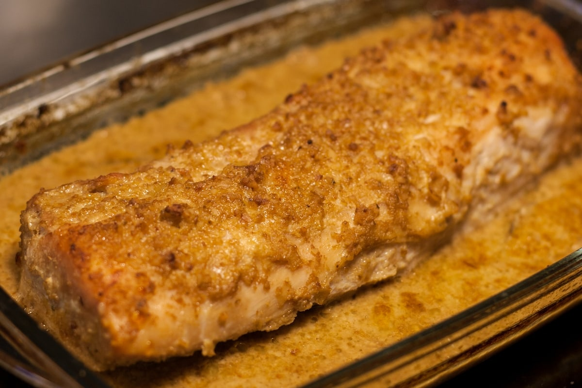 roasted pork loin hazelnut sauce