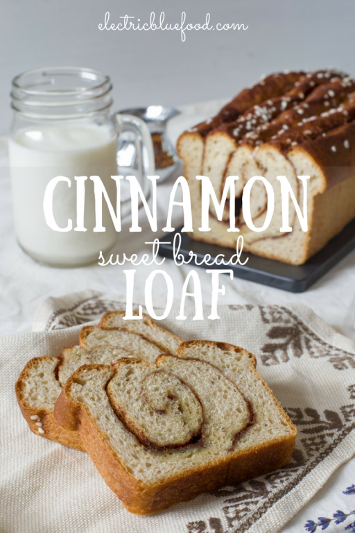 A cinnamon sweet bread loaf, aka cinnamon buns baked in a loaf pan, aka a sweet bread loaf that tastes cinnamon buns. Cinnamon, butter and a yeast dough.