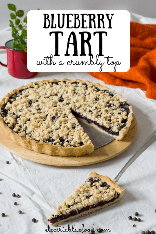 Blueberry tart with a crumbly top.