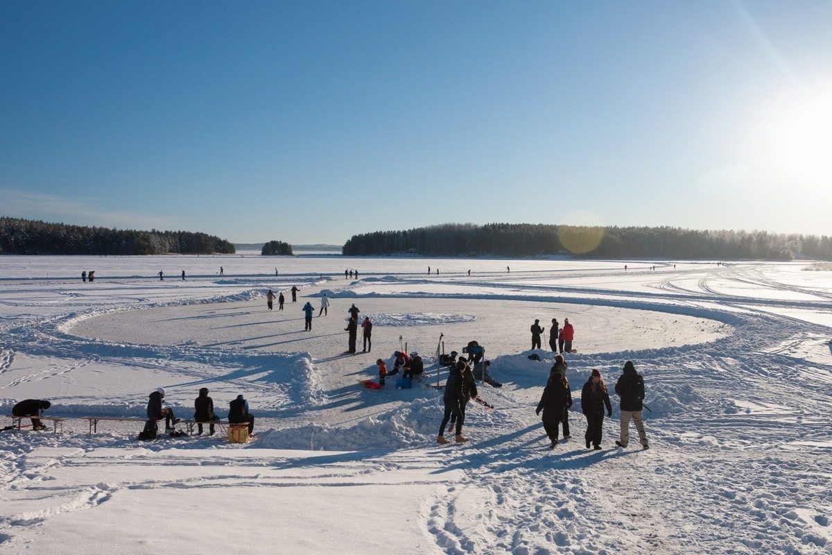 Ice skating on frozen lakes in Sweden