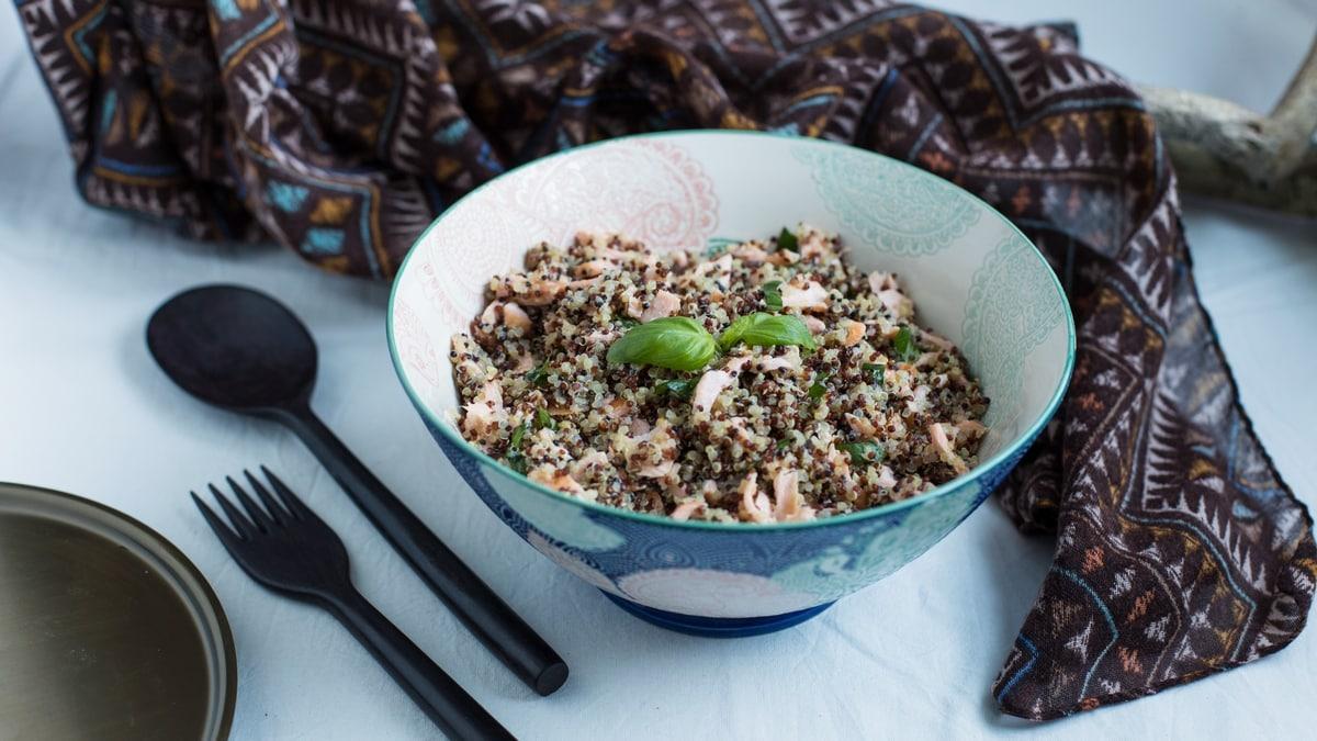 salmon quinoa basil salad