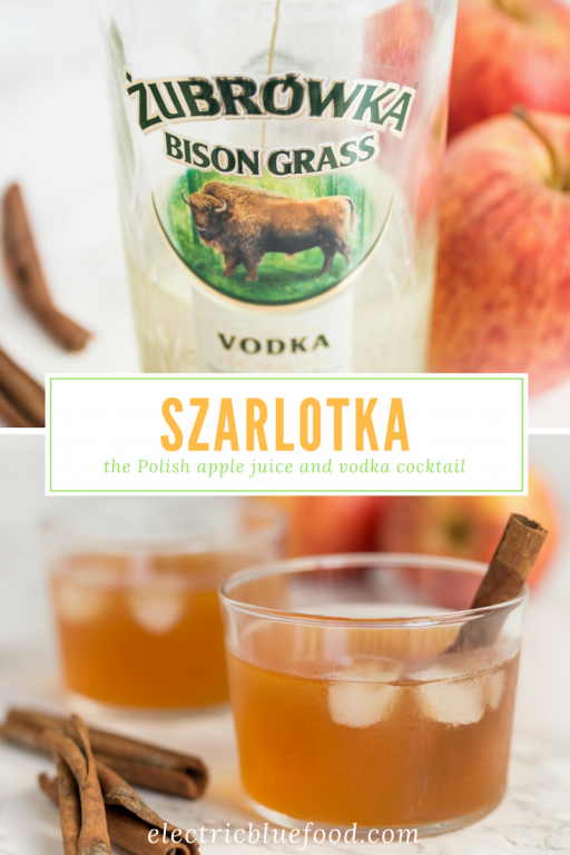 Szarlotka is the name of Polish apple pie. There is another item in Polish cuisine that goes by the same name and that features two of the same ingredients - apples and cinnamon. The third igredient is Żubrówka, probably the most famous Polish vodka.
