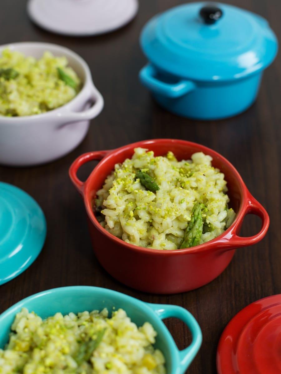 Asparagus pistachio risotto