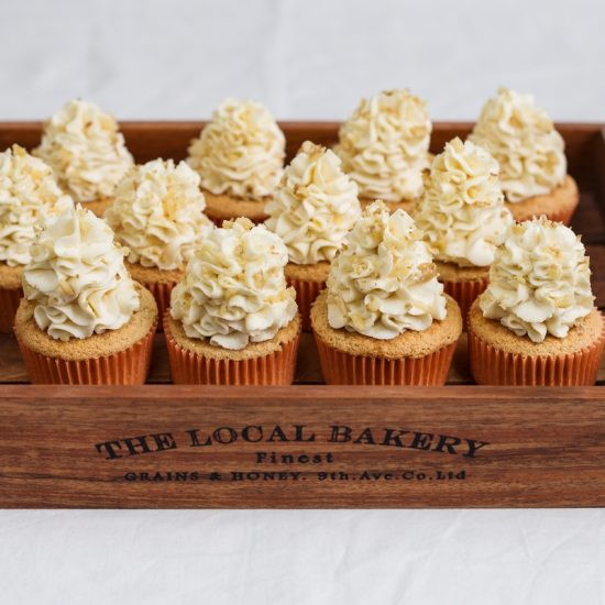 Walnut cupcakes with honey mascarpone frosting