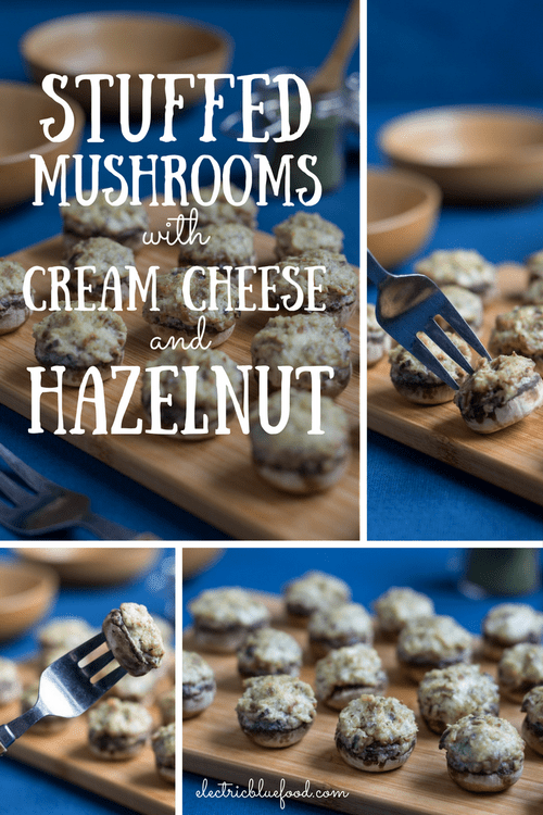 Cream cheese and hazelnut stuffed mushrooms