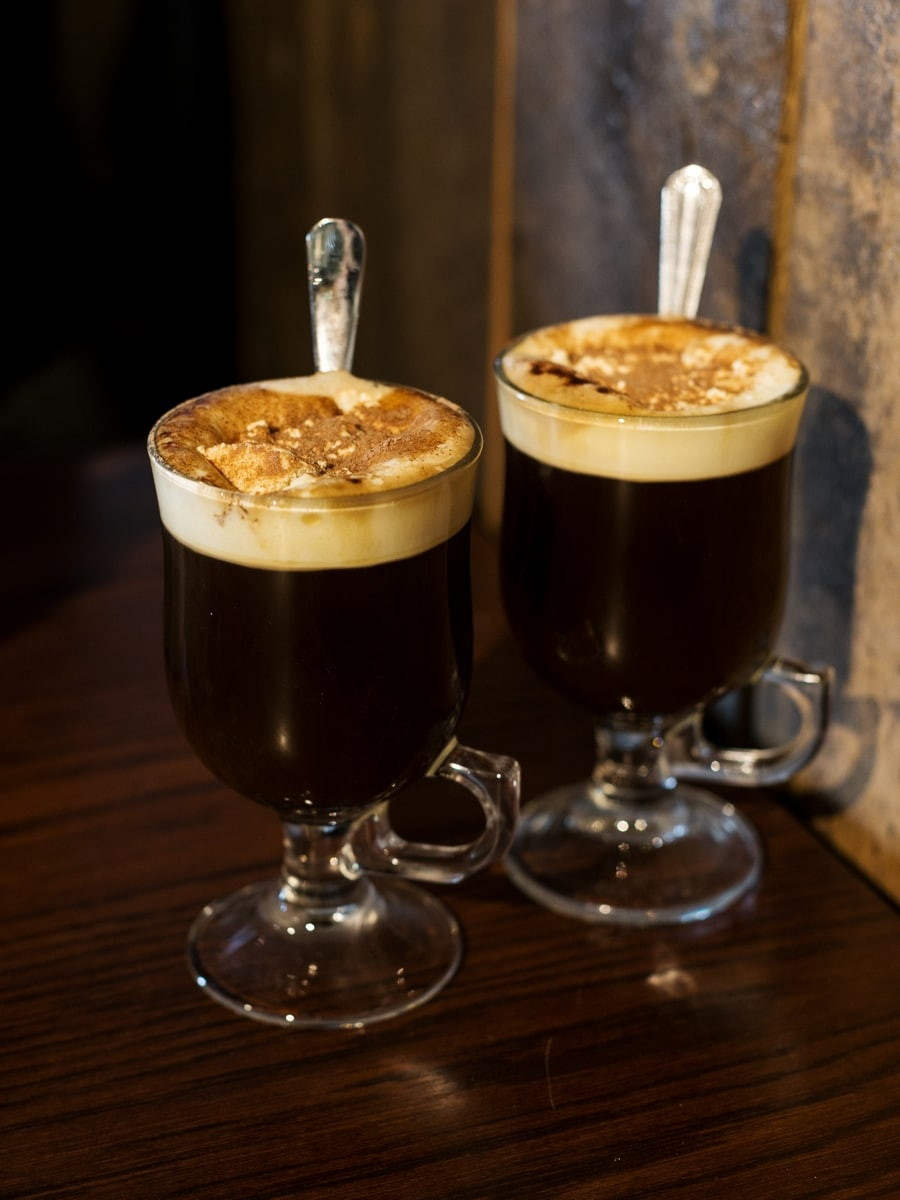 Two glasses of Irish coffee.