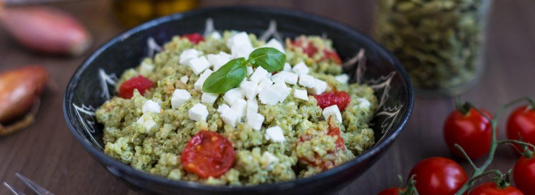 Quinoa salad with roasted tomatoes, feta and pesto