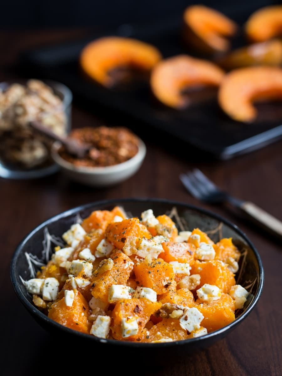 Roasted pumpkin salad with feta and walnuts