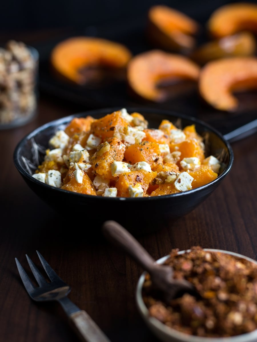 Roasted pumpkin salad with feta and walnuts