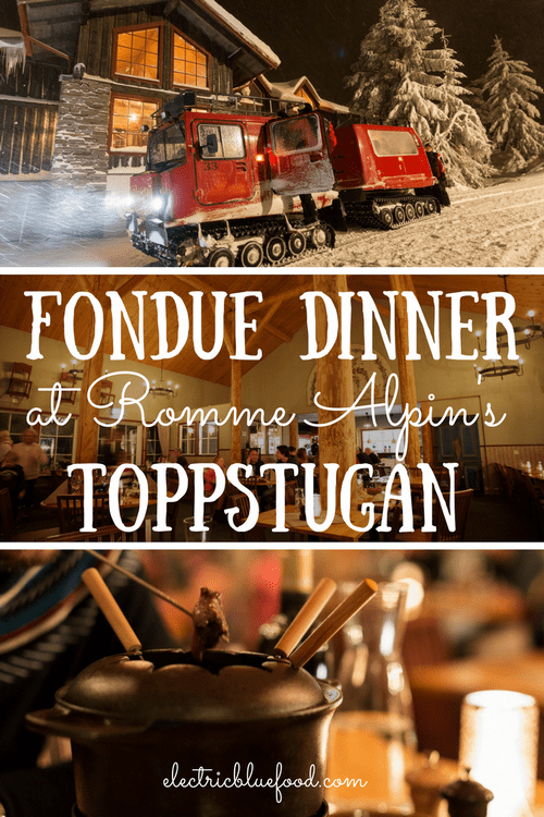 A fondue dinner at Romme Alpin's Toppstugan restaurant. A lovely experience in one of Sweden's coolest ski resorts.