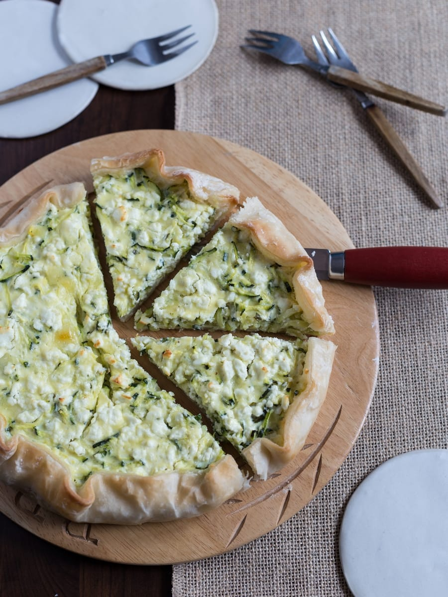 A tasty quiche made with zucchini feta and mint leaves