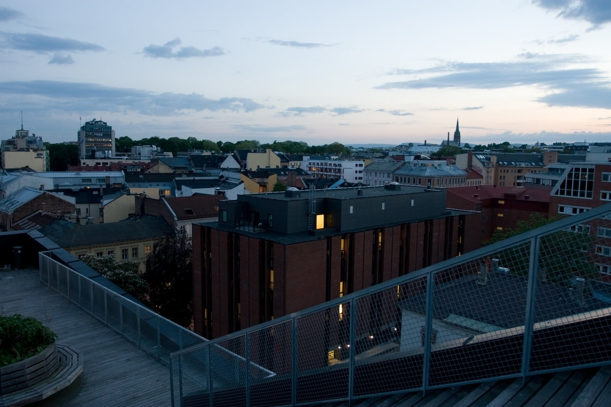 Oslo seen from a rooftop. Not a bad place to get standed.