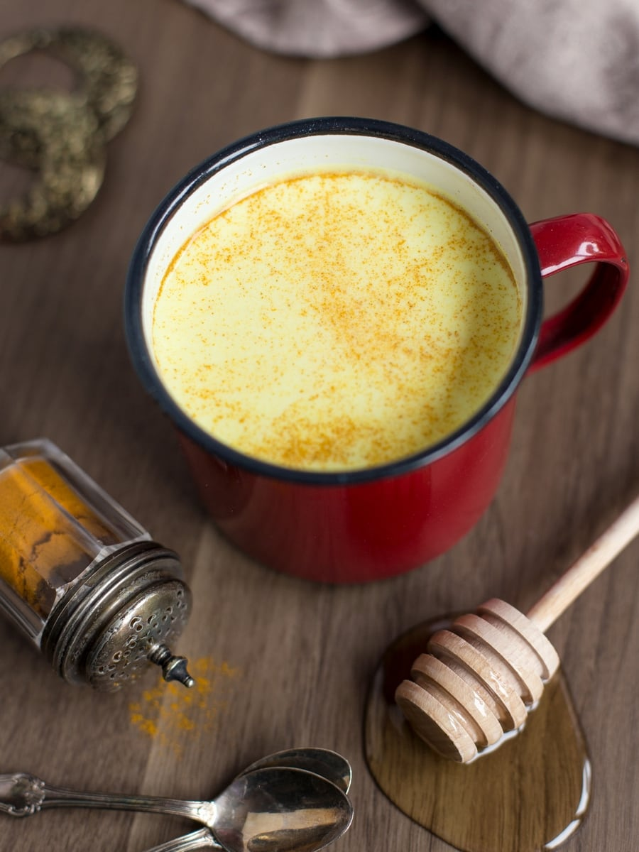 Hot milk and honey latte with turmeric and honey.