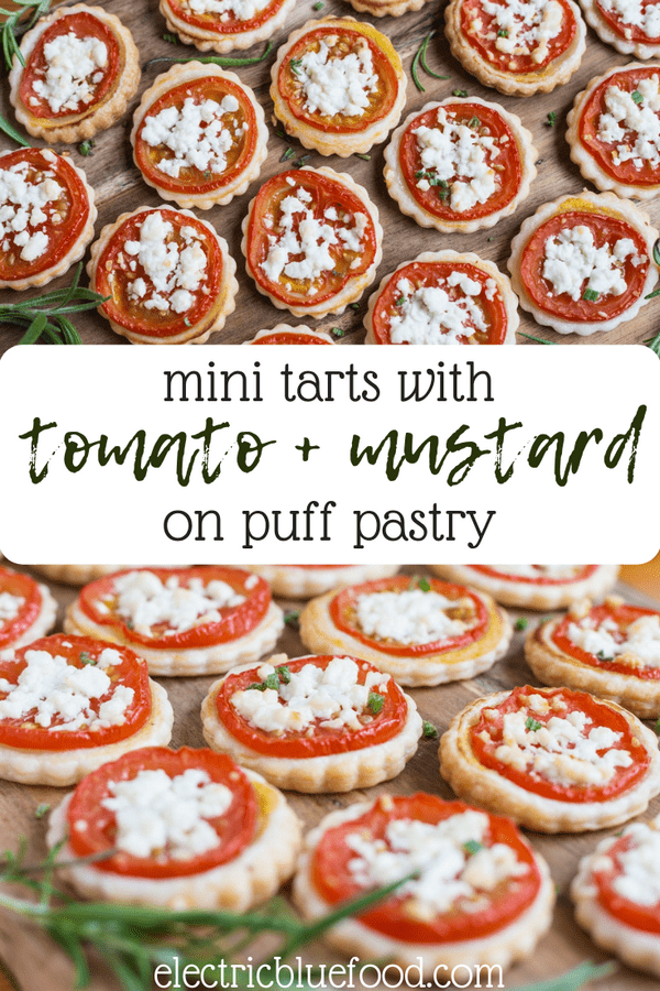 Mini tomato mustard tart on puff pastry. A creative appetizer that requires just 4 ingredients and a cookie cutter.
