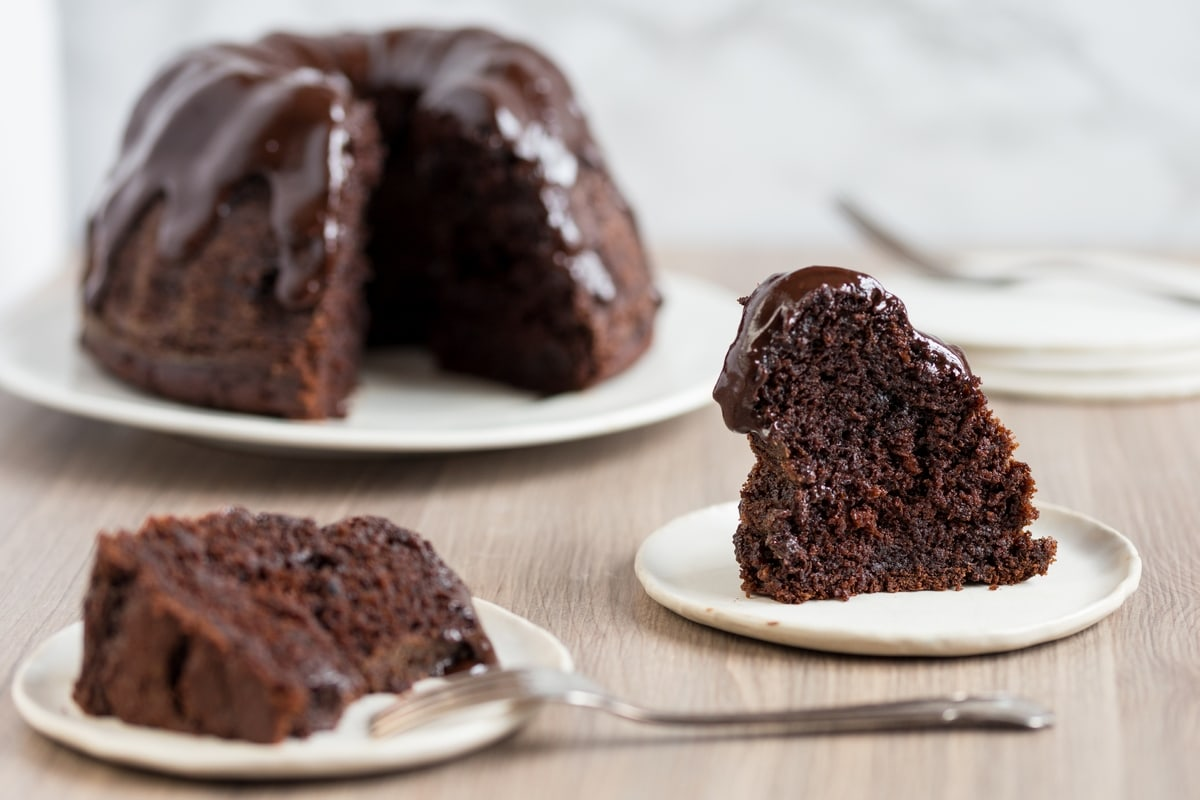 Chocolate pumpkin Bundt cake with chocolate ganache