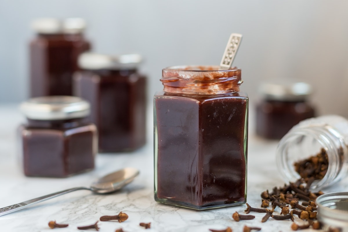plum clove jam with cocoa