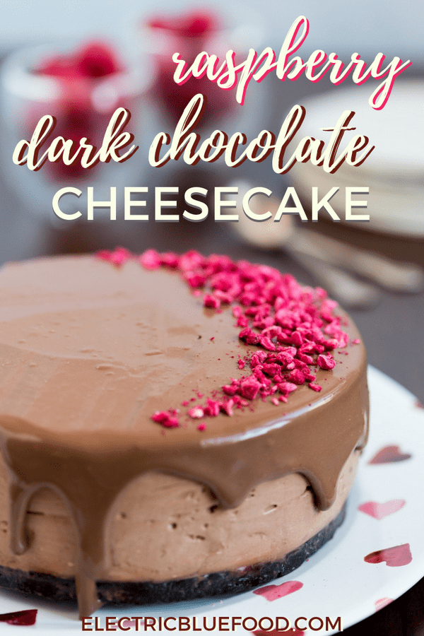 Raspberry dark chocolate no-bake cheesecake