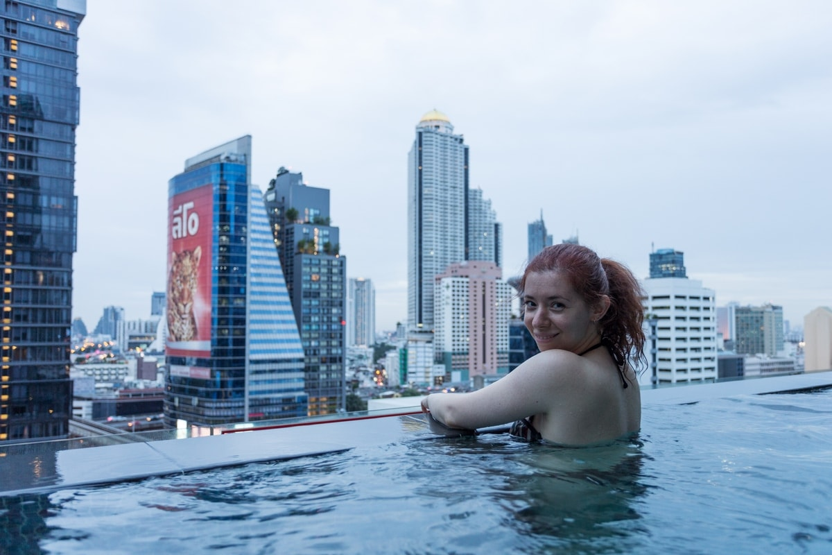 Enjoying my Bangkok honeymoon in the infinity pool
