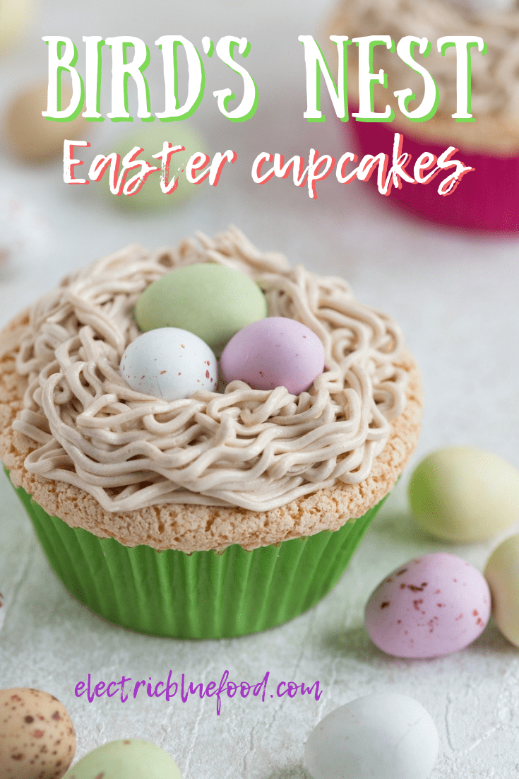 Bird's nest cupcakes made of Portuguese sponge cake topped with egg custard and buttercream piped to look like a nest and filled with chocolate eggs #easter