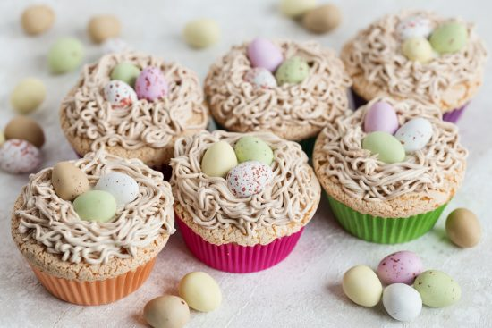 Bird's nest cupcakes with egg custard and buttercream.