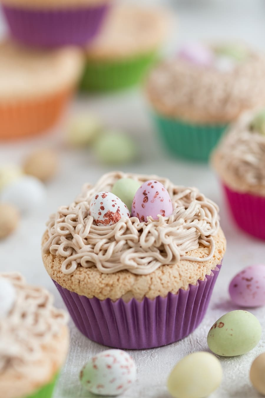 Portuguese sponge cake cupcakes with buttercream bird's nest