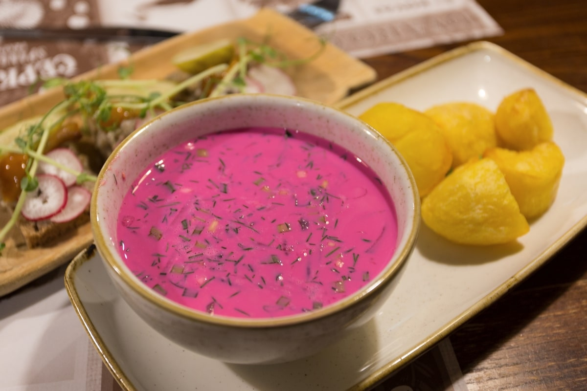 Cold beetroot soup, a Lithuanian specialty