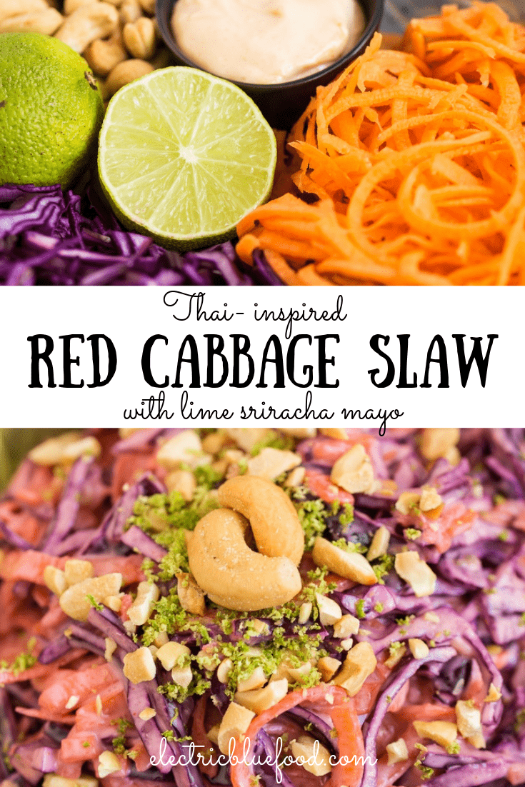 This Thai red cabbage slaw brings together some of the flavours of Thai cuisine I love the most: sriracha sauce and lime. Plus, the crunch of the carrot and red cabbage is paired with that of roasted cashews.