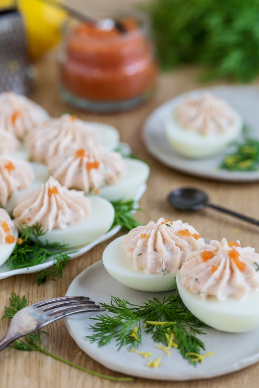 Scandinavian deviled eggs with smoked salmon mousse and fish roe