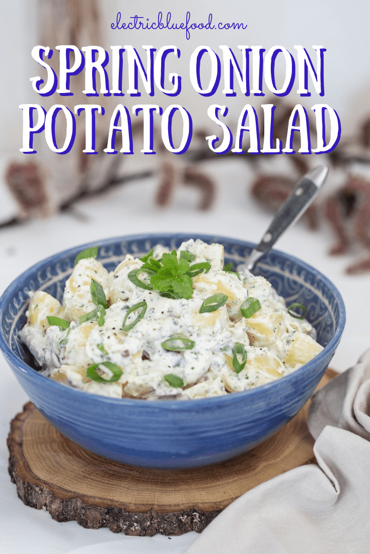Spring onion potato salad with homemade cilantro mayo will be your new summertime favourite side dish.