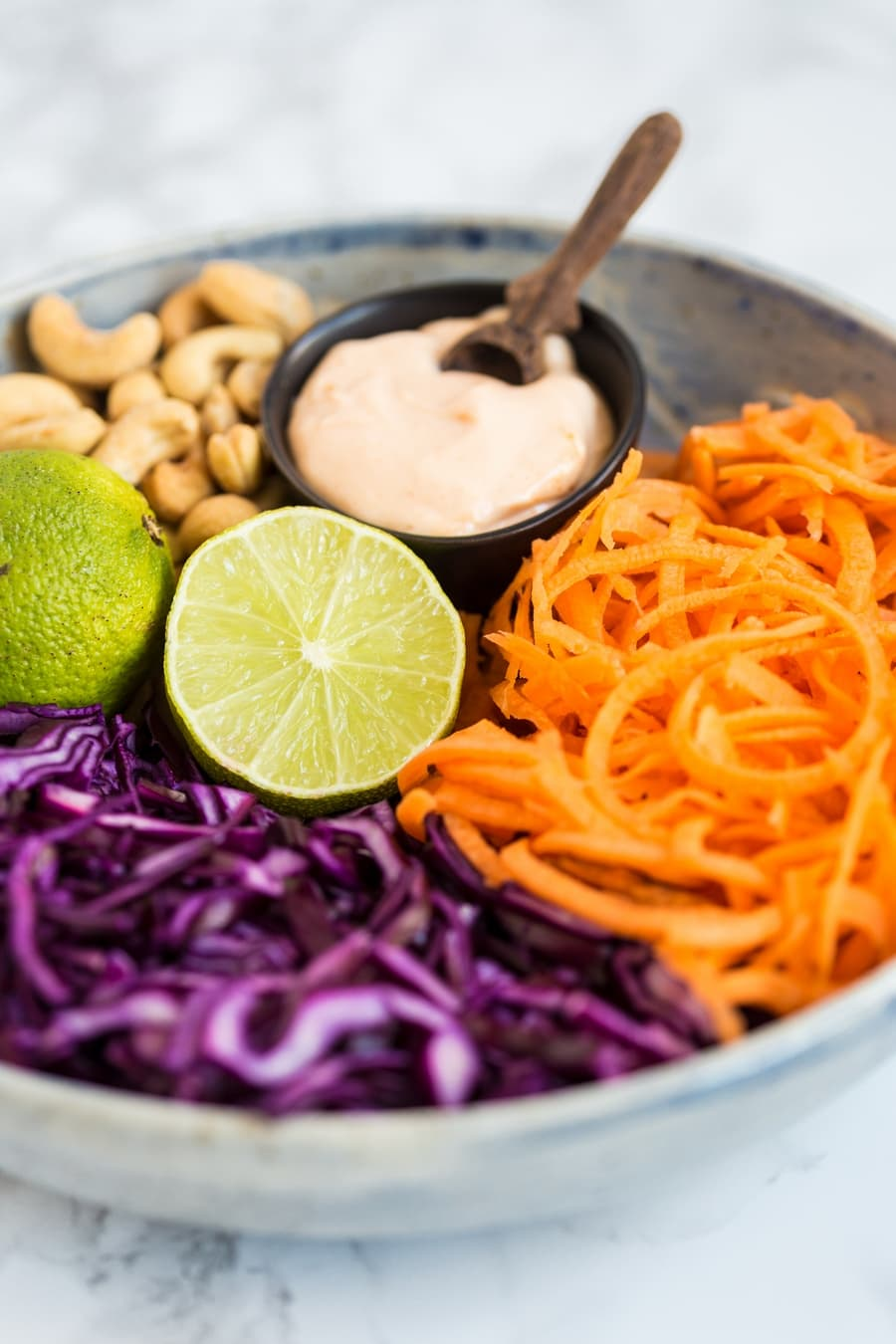 Thai red cabbage slaw ingredients