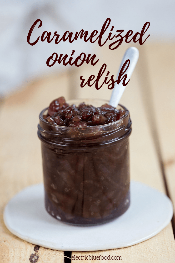 Caramelized onion relish for burgers. The secret ingredient to up your hamburger game.