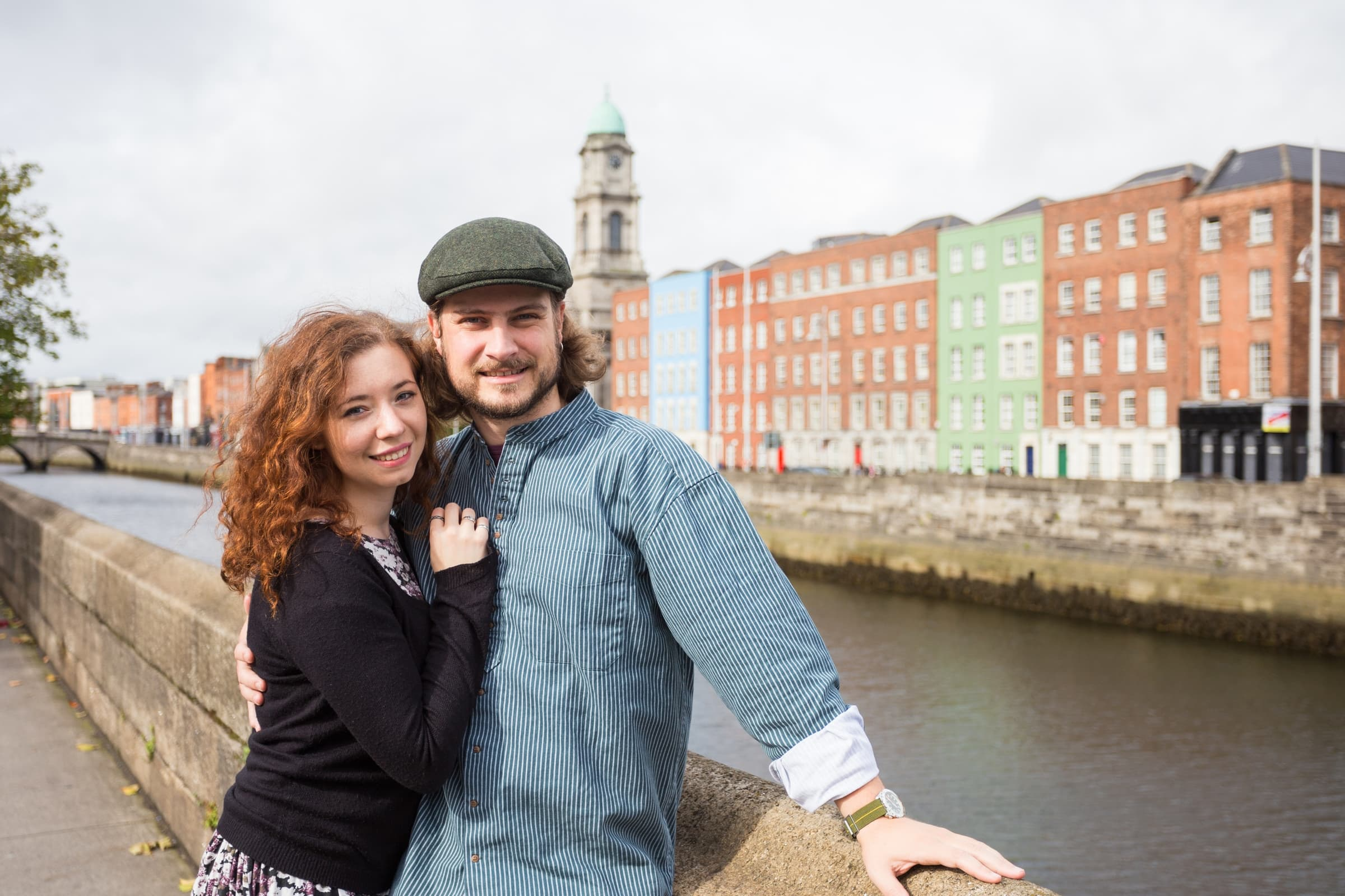 Couple posing in Dublin.