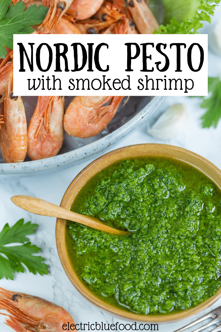 Nordic pesto with smoked shrimp. Dip your shrimps in this lovely pesto made with all Nordic ingredients: parsley, sunflower seeds, rapeseed oil and Västerbotten cheese. A fantastic Scandinavian appetizer!