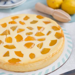 crustless ricotta cheesecake with canned peaches