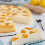 crustless ricotta cheesecake with canned peaches sliced