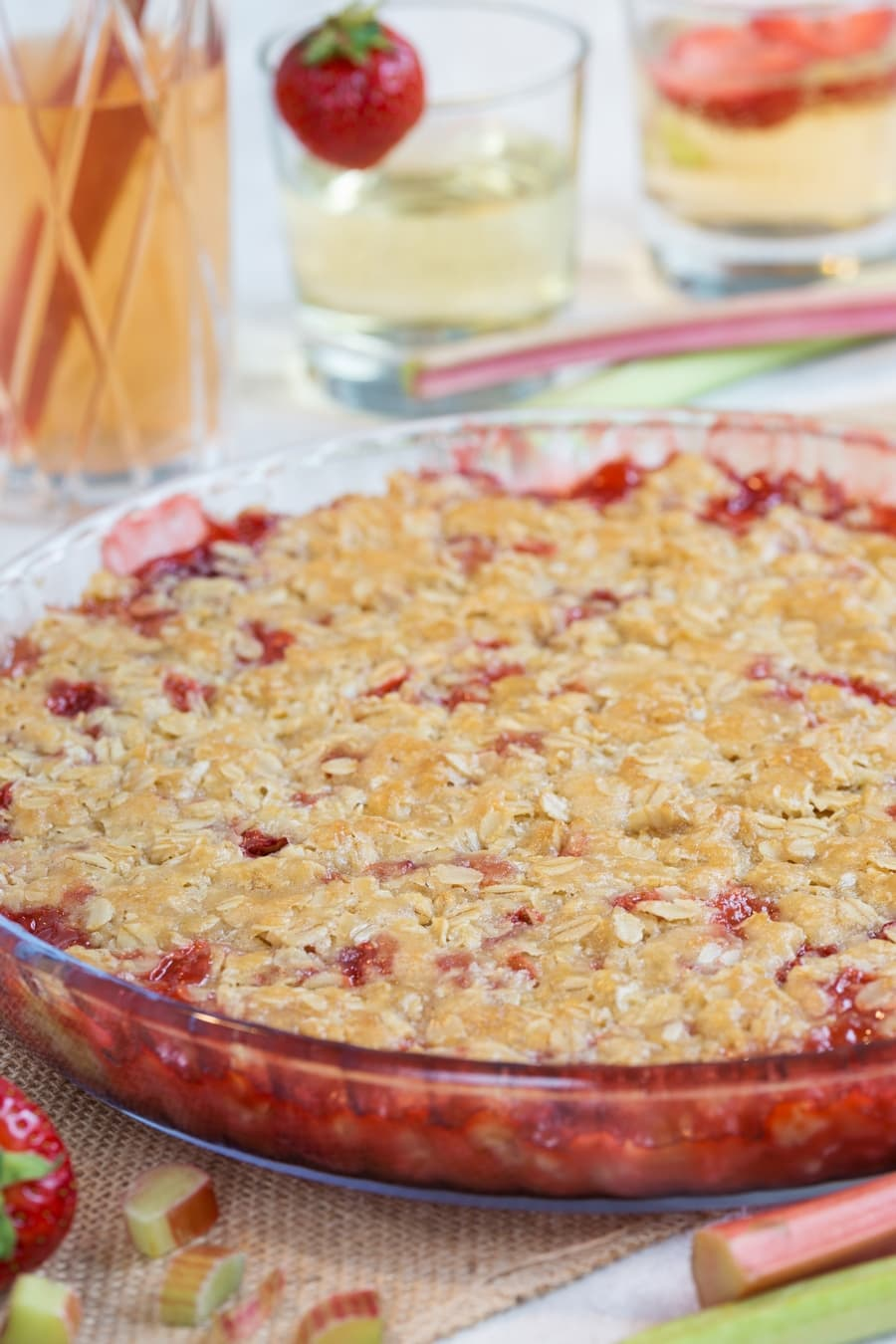 Strawberry rhubarb crisp in a see-through pyrex pan.