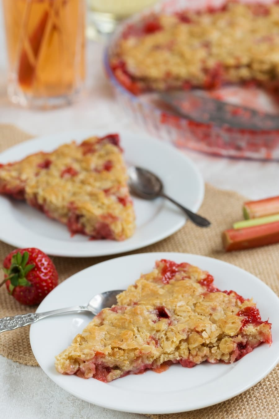 Two slices of strawberry rhubarb crisp.
