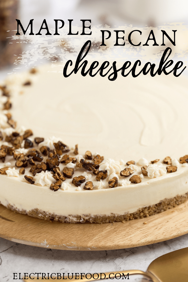 No-bake maple cheesecake with candied pecans on top and a pecan biscuit base.