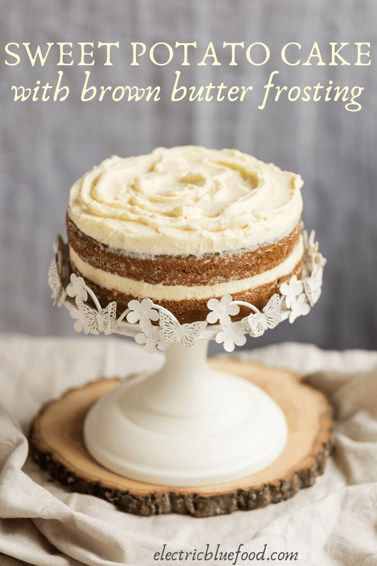 Sweet potato cake with brown butter frosting.