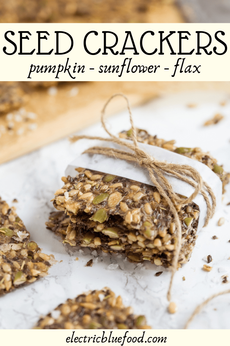 Healthy multi seed crackers made with pumpkin, sunflower and flax seeds. Flavoured with dried rosemary and salt flakes.