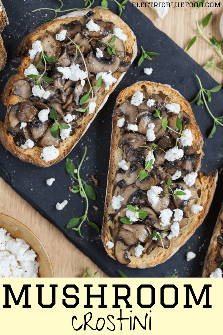 Garlicky mushroom crostini with goat cheese crumbs, the perfect appetizer on a cold day.