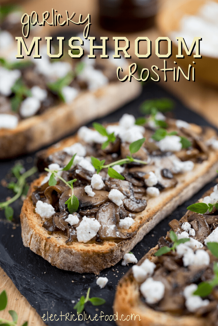 Delicious mushrooms sautéed in butter topping a crusty garlicky bread. Goat cheese and fresh thyme to create the perfect flavour.