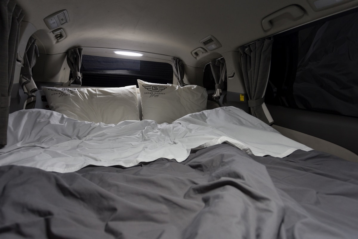 The inside of our campervan in night mode.