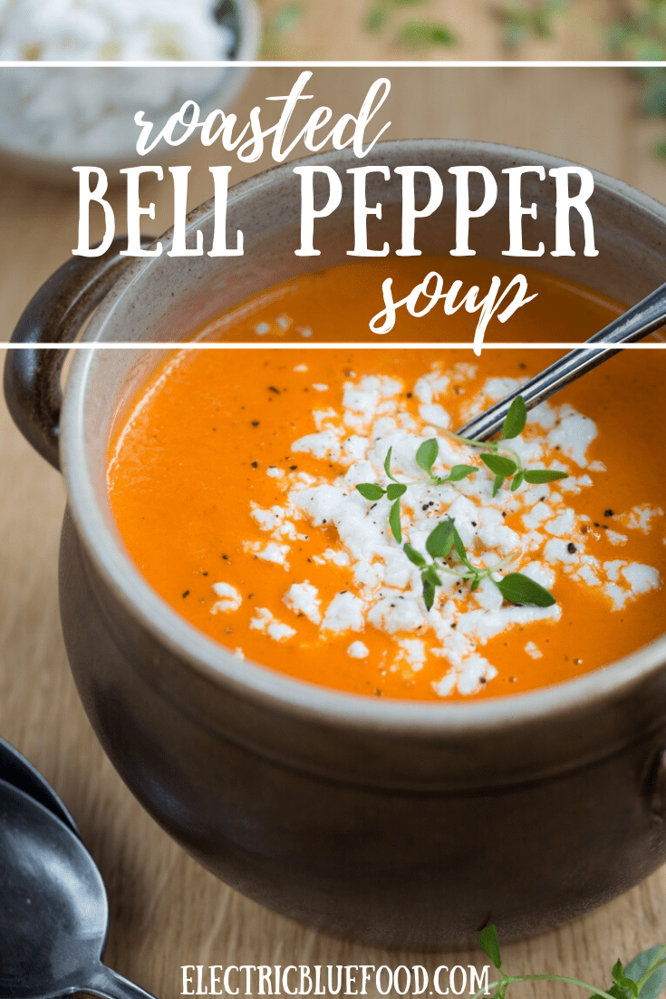 Roasted bell pepper soup with unripened goat cheese crumbles. Made with home-roasted red peppers for a unique flavour.