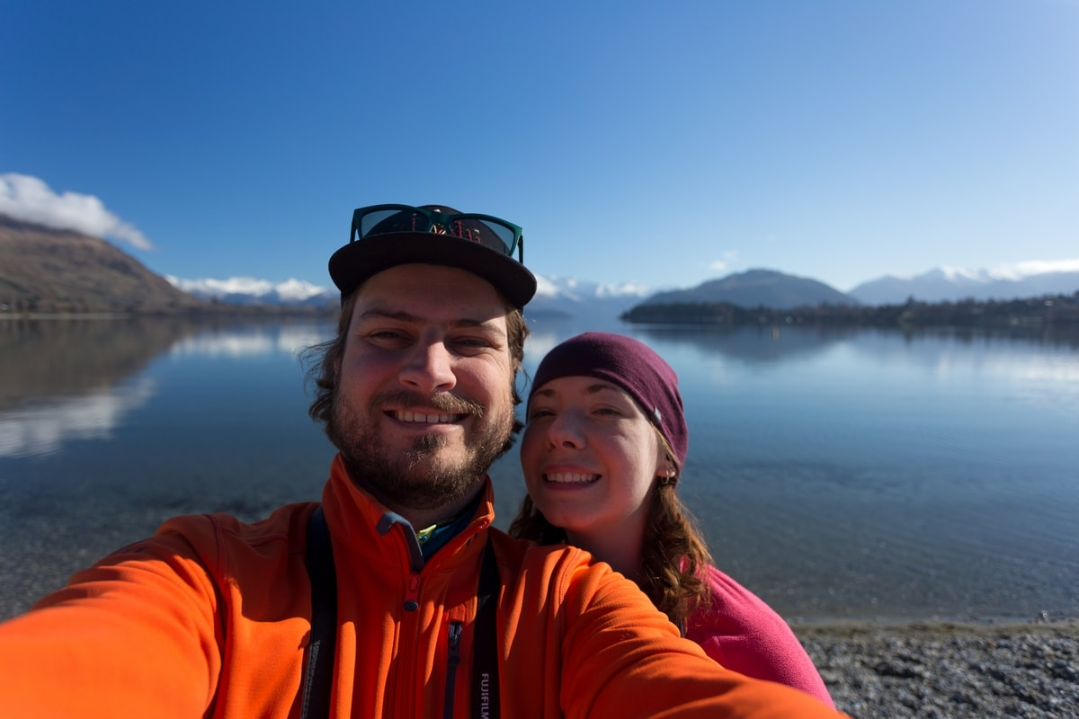 Couple selfie at Wanaka lake.